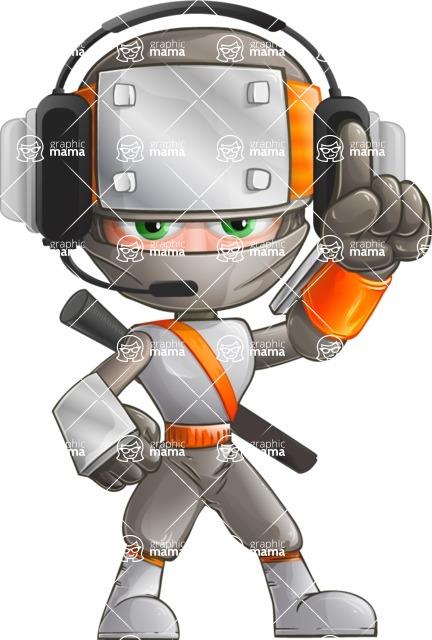 Japanese Ninja Cartoon Vector Character AKA Takeshi - Support 1