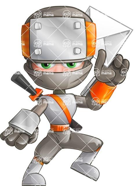 Japanese Ninja Cartoon Vector Character AKA Takeshi - Mail