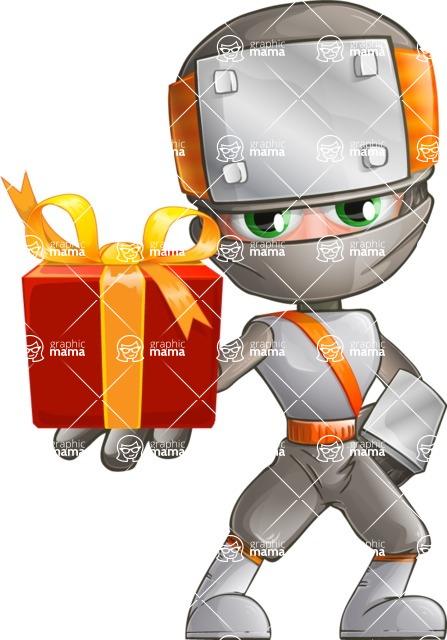 Japanese Ninja Cartoon Vector Character AKA Takeshi - Gift