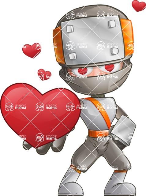 Japanese Ninja Cartoon Vector Character AKA Takeshi - Love