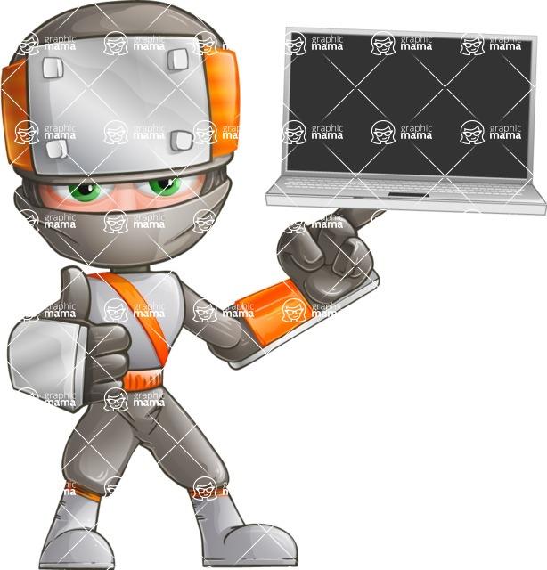 Japanese Ninja Cartoon Vector Character AKA Takeshi - Laptop 1