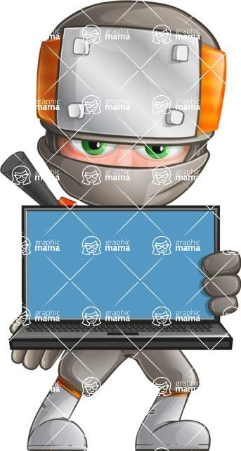 Japanese Ninja Cartoon Vector Character AKA Takeshi - Laptop 3