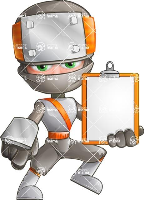 Japanese Ninja Cartoon Vector Character AKA Takeshi - Note 1