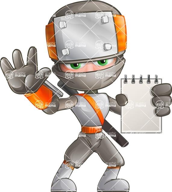 Japanese Ninja Cartoon Vector Character AKA Takeshi - Note 2