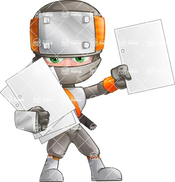 Japanese Ninja Cartoon Vector Character AKA Takeshi - Note 3