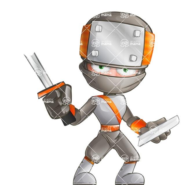 Japanese Ninja Cartoon Vector Character AKA Takeshi - Under Construction 1