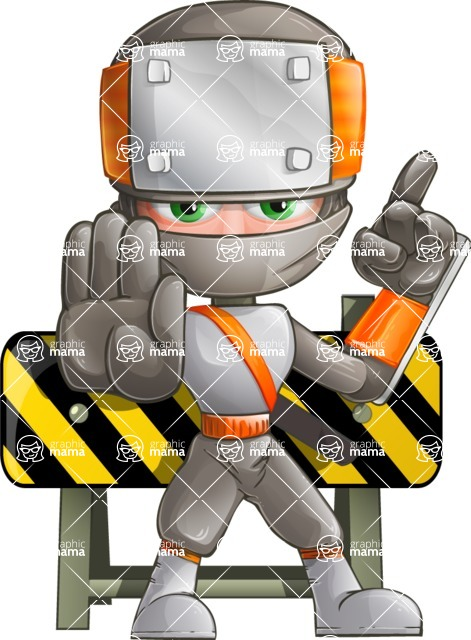 Japanese Ninja Cartoon Vector Character AKA Takeshi - Under Construction 2