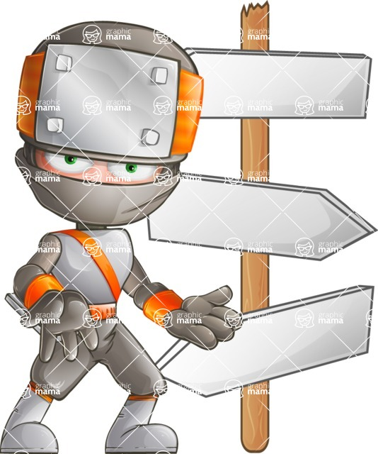 Japanese Ninja Cartoon Vector Character AKA Takeshi - Crossroads