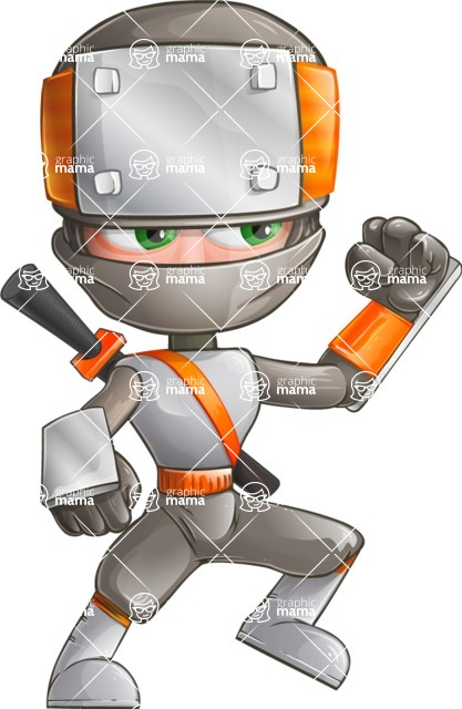 Japanese Ninja Cartoon Vector Character AKA Takeshi - Determination