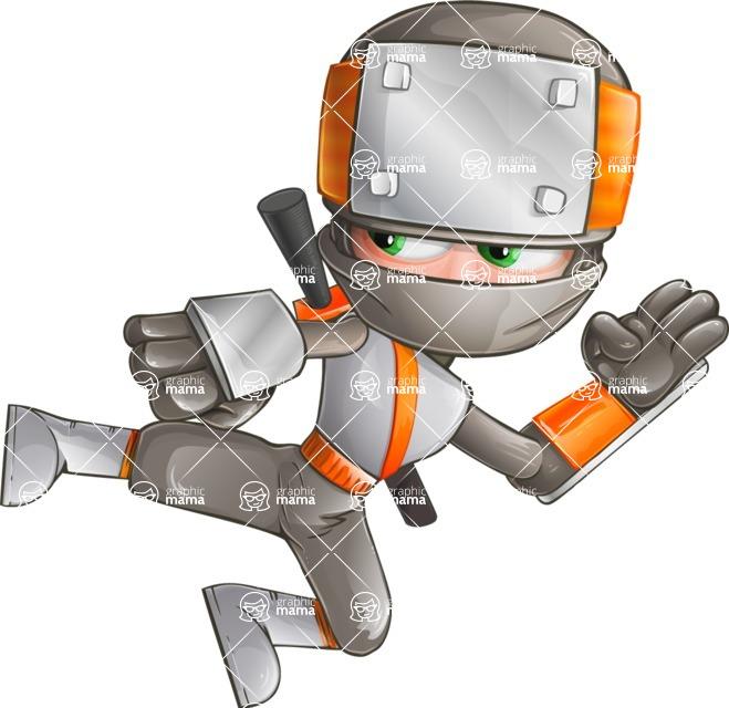 Japanese Ninja Cartoon Vector Character AKA Takeshi - Kick 1
