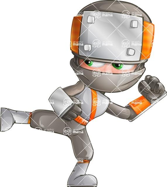 Japanese Ninja Cartoon Vector Character AKA Takeshi - Kick 2