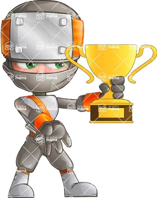 Japanese Ninja Cartoon Vector Character AKA Takeshi - Champion