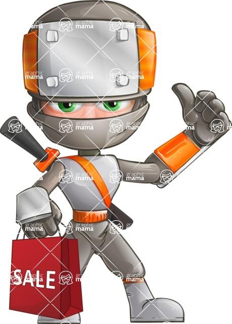 Japanese Ninja Cartoon Vector Character AKA Takeshi - Sale 1