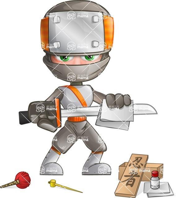 Japanese Ninja Cartoon Vector Character AKA Takeshi - Repair