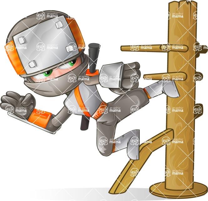 Japanese Ninja Cartoon Vector Character AKA Takeshi - Training