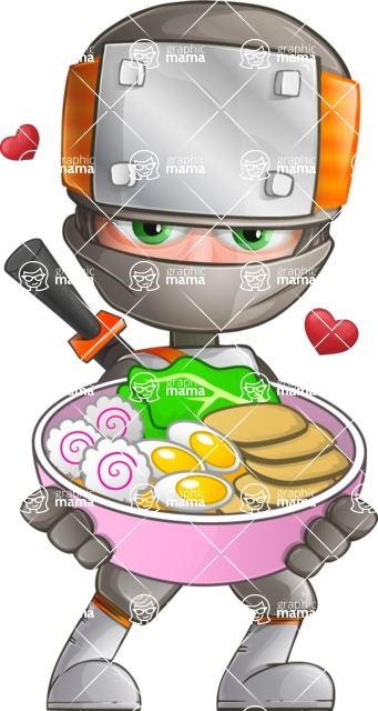 Japanese Ninja Cartoon Vector Character AKA Takeshi - Ramen