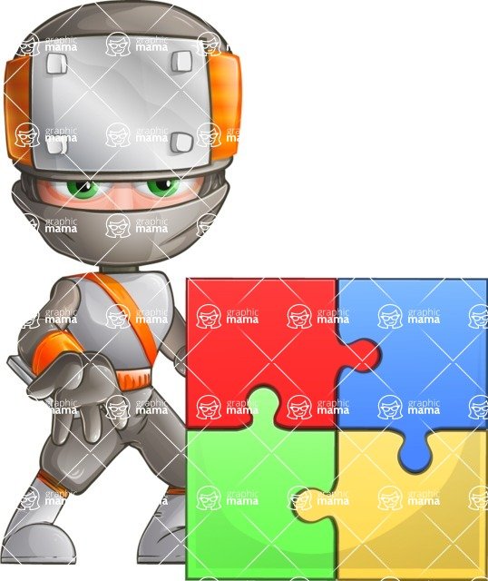 Japanese Ninja Cartoon Vector Character AKA Takeshi - Puzzle