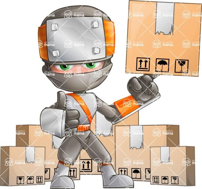 Japanese Ninja Cartoon Vector Character AKA Takeshi - Delivery 2
