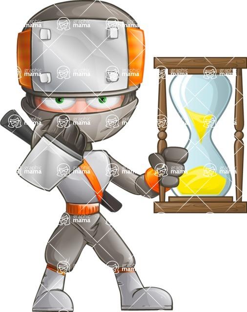 Japanese Ninja Cartoon Vector Character AKA Takeshi - Time is Up