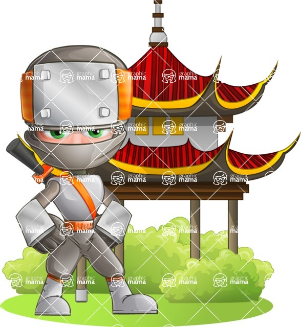 Japanese Ninja Cartoon Vector Character AKA Takeshi - Temple