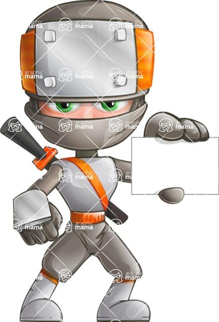 Japanese Ninja Cartoon Vector Character AKA Takeshi - Sign 1