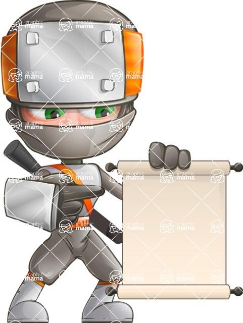 Japanese Ninja Cartoon Vector Character AKA Takeshi - Sign 3