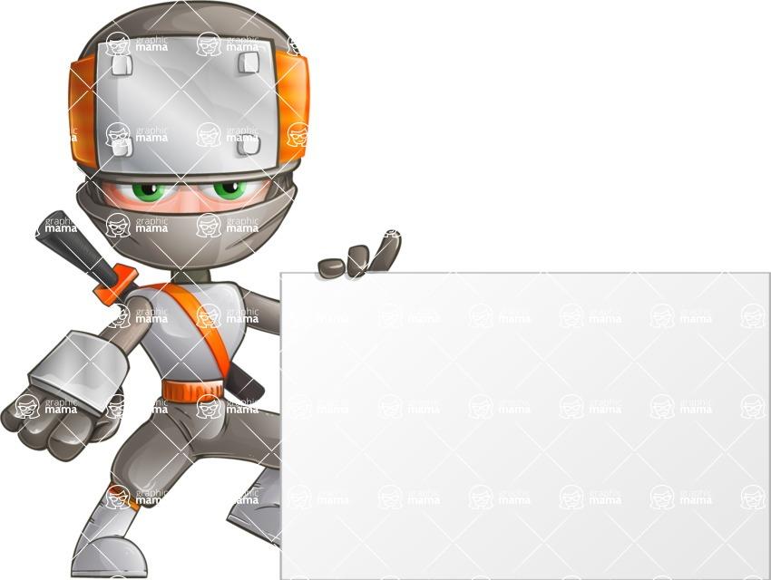 Japanese Ninja Cartoon Vector Character AKA Takeshi - Sign 5