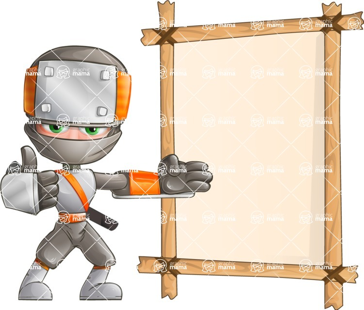 Japanese Ninja Cartoon Vector Character AKA Takeshi - Presentation 6