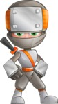 Japanese Ninja Cartoon Vector Character AKA Takeshi - Normal