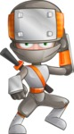Japanese Ninja Cartoon Vector Character AKA Takeshi - Stunned