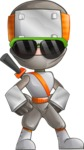 Japanese Ninja Cartoon Vector Character AKA Takeshi - Sunglasses 1