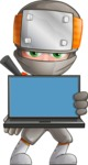 Japanese Ninja Cartoon Vector Character AKA Takeshi - Laptop 3