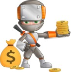 Japanese Ninja Cartoon Vector Character AKA Takeshi - Here Comes the Money
