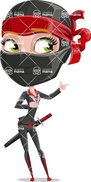 Ninja Woman Cartoon Vector Character AKA Aina - Point 2
