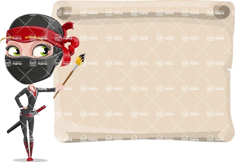Ninja Woman Cartoon Vector Character AKA Aina - Presentation 7