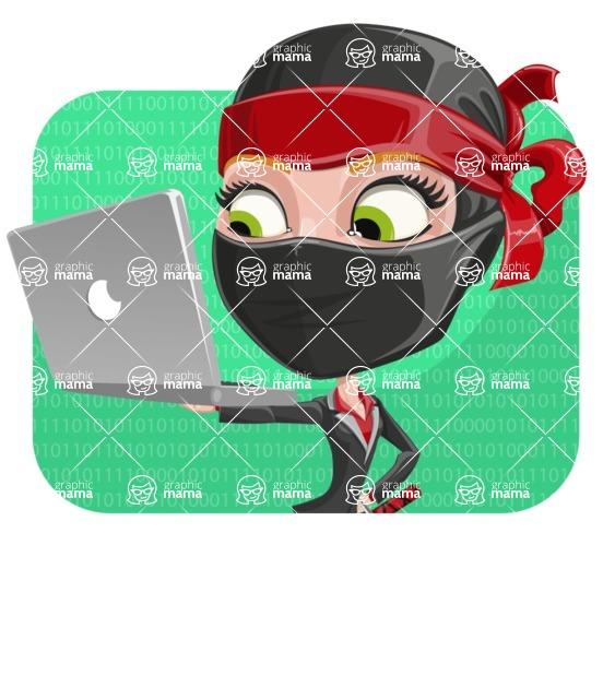 Ninja Woman Cartoon Vector Character AKA Aina - Shape 2