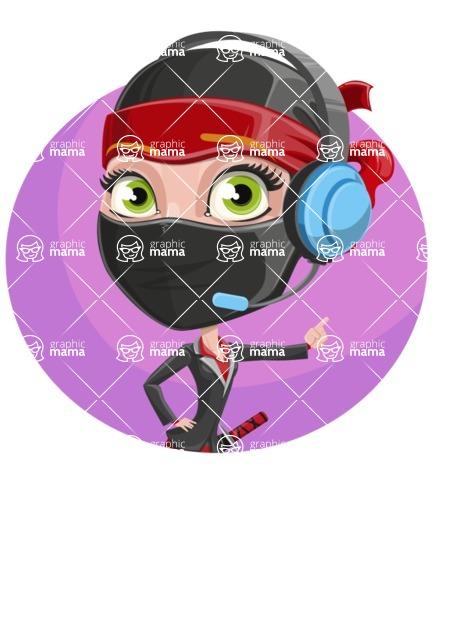 Ninja Woman Cartoon Vector Character AKA Aina - Shape 3