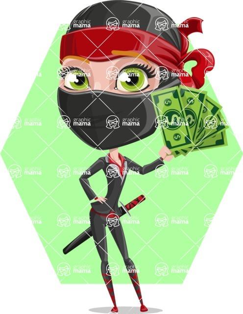 Ninja Woman Cartoon Vector Character AKA Aina - Shape 6