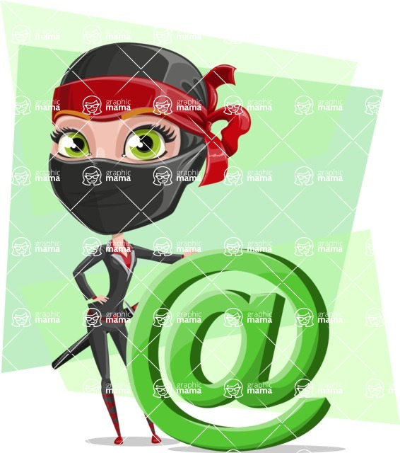 Ninja Woman Cartoon Vector Character AKA Aina - Shape 7