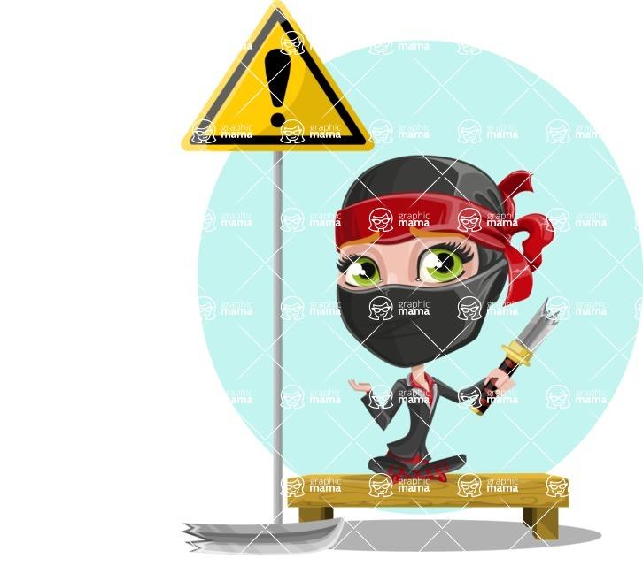 Ninja Woman Cartoon Vector Character AKA Aina - Shape 8