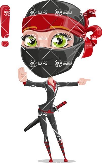Ninja Woman Cartoon Vector Character AKA Aina - Direct Attention 1