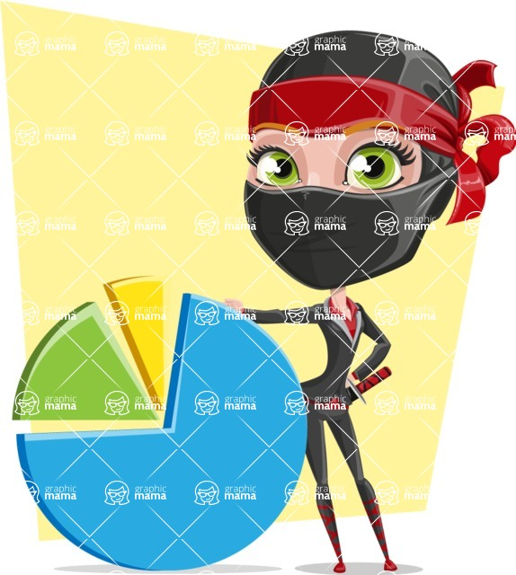 Ninja Woman Cartoon Vector Character AKA Aina - Shape 10