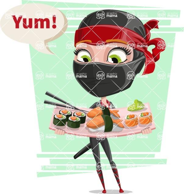 Ninja Woman Cartoon Vector Character AKA Aina - Shape 11