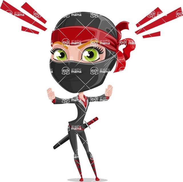 Ninja Woman Cartoon Vector Character AKA Aina - Stop 1