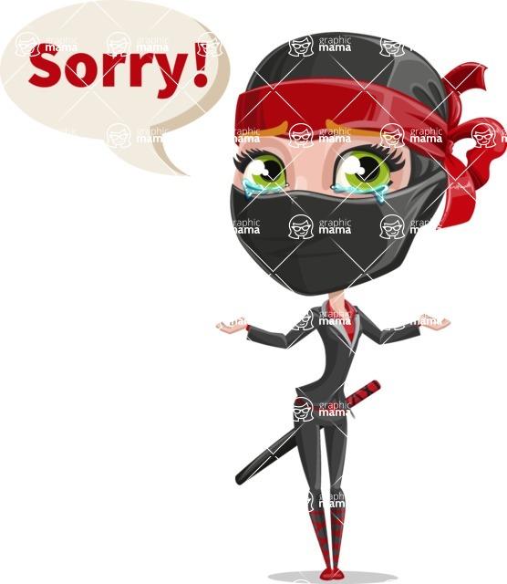 Ninja Woman Cartoon Vector Character AKA Aina - Sad 2