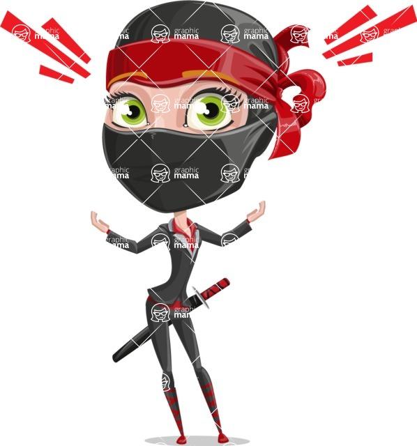 Ninja Woman Cartoon Vector Character AKA Aina - Shocked