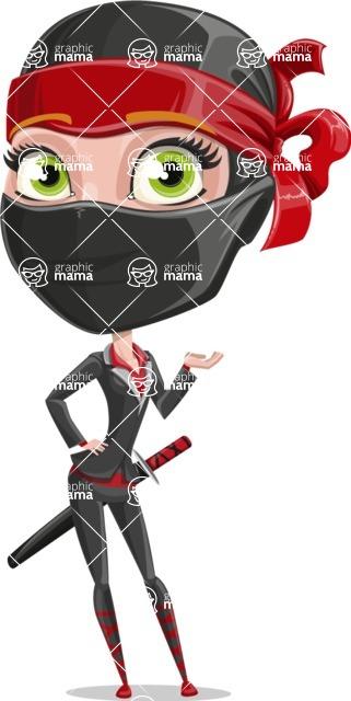 Ninja Woman Cartoon Vector Character AKA Aina - Lost 1