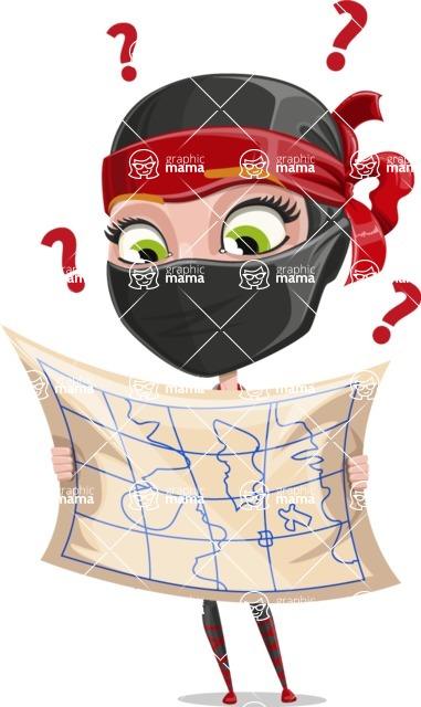 Ninja Woman Cartoon Vector Character AKA Aina - Lost 2