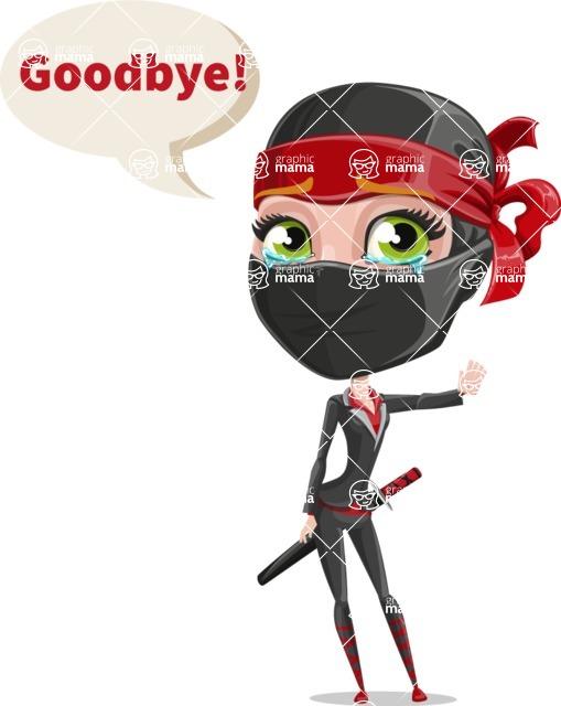 Ninja Woman Cartoon Vector Character AKA Aina - Goodbye