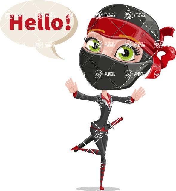 Ninja Woman Cartoon Vector Character AKA Aina - Hello